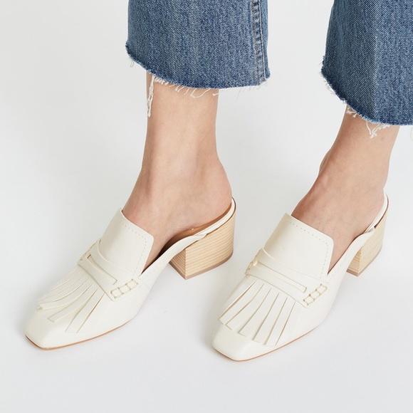 ae317dcff6db Dolce Vita Shoes - NWOT Dolce Vita White Block Heel Fringe Mule sz7.5